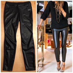 Simply Vera Wang Contrast Faux Leather Leggings XS